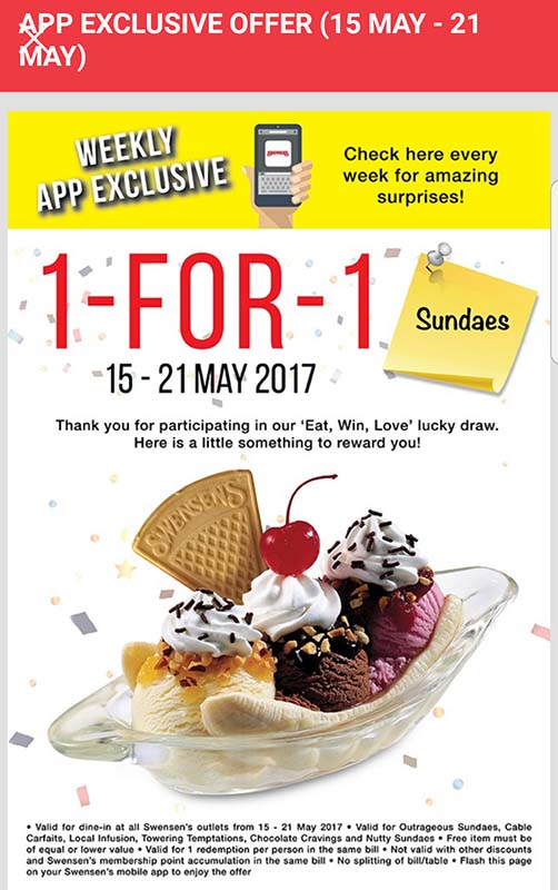 Swensen's 1-for-1 Sundaes Promotion at ALL outlets